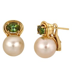 Golden South Sea Pearl Earrings Set in 18 Karat Gold with Tourmaline