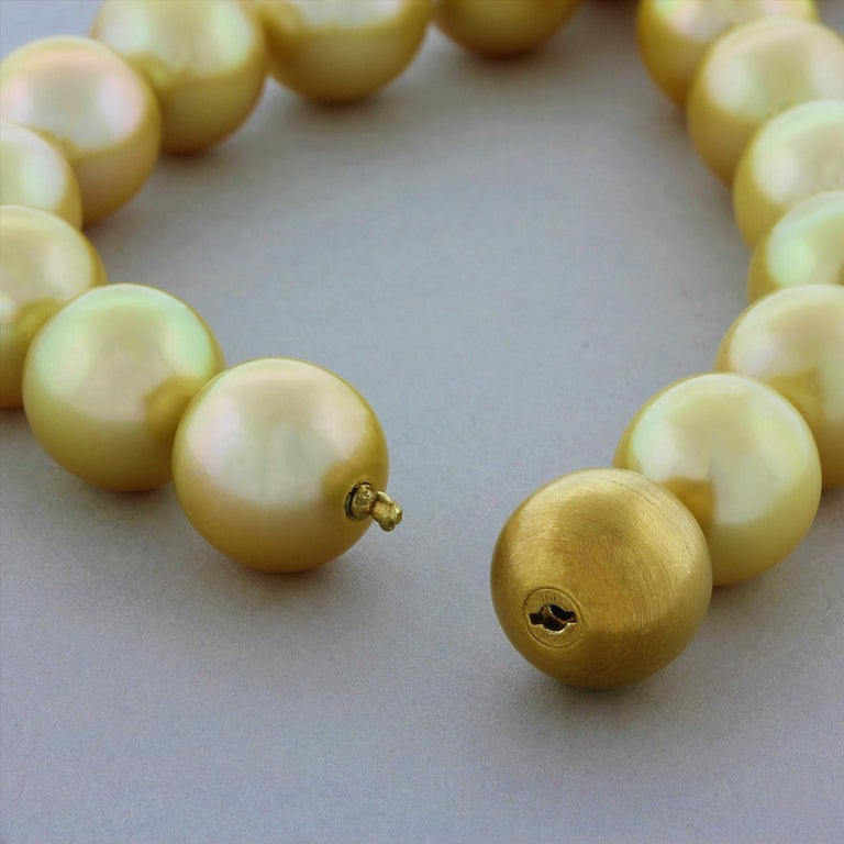 Golden South Sea Pearl Gold Necklace For Sale 1