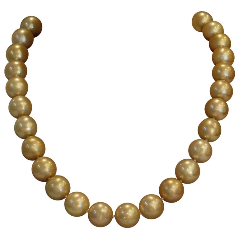 Golden South Sea Pearl Gold Necklace For Sale