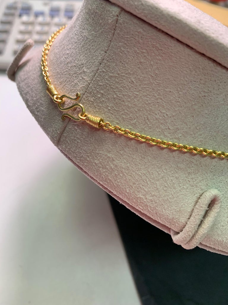 Round Cut Golden South Sea Pearl in Yellow Gold 22 Karat Gold Pendant For Sale