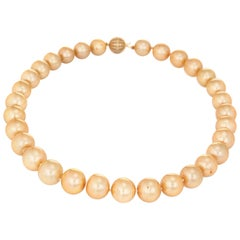 Golden South Sea Pearl Necklace Diamond Clasp 14 Karat Gold Estate