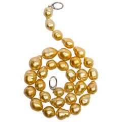 Golden South Sea Pearl Necklace, Nature's Fill Light for the Face