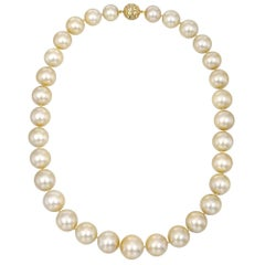 Golden South Sea Pearl Necklace with Yellow Sapphire Clasp