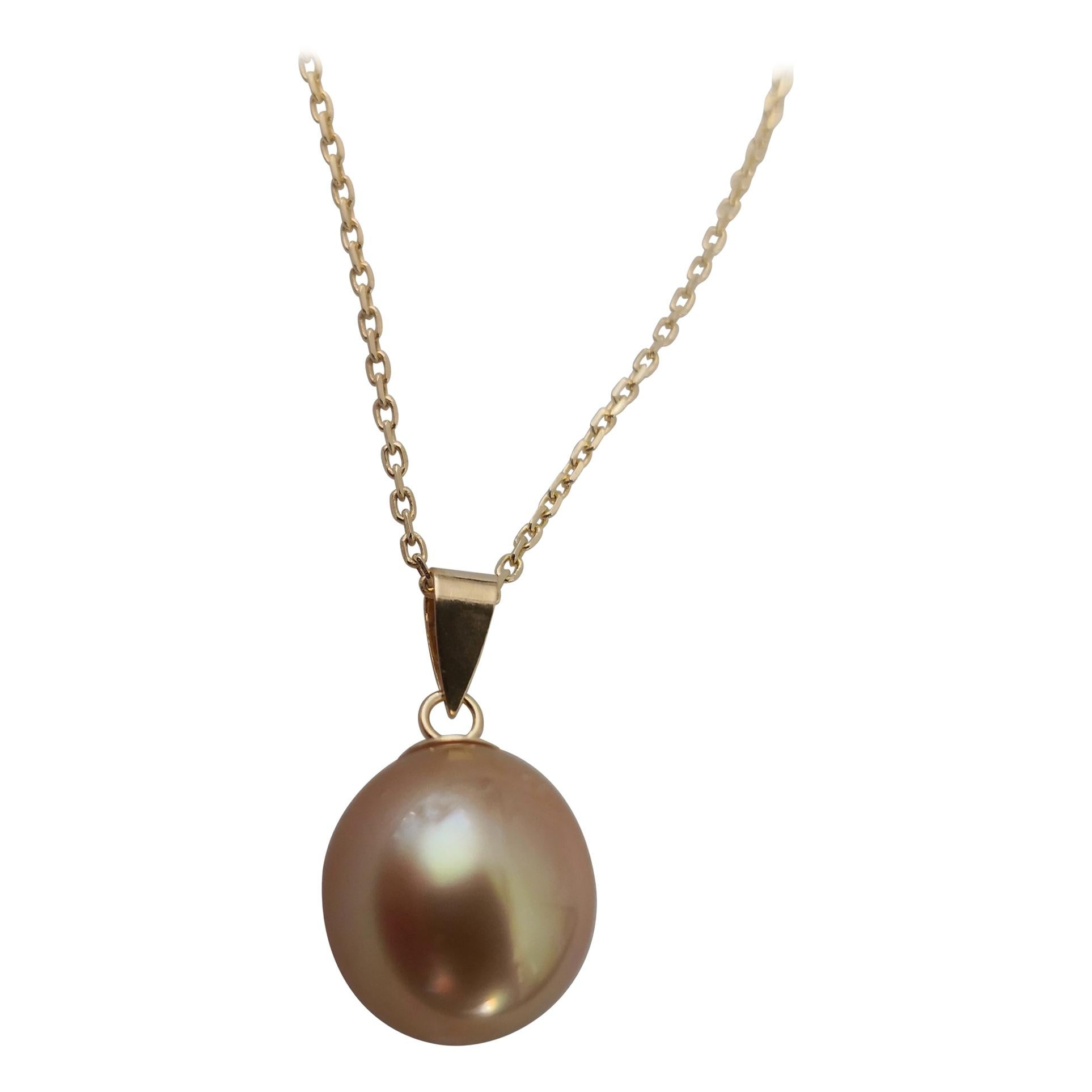 Golden South Sea Pearl Pendant 18 Karat Gold