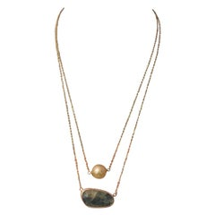 Golden South Sea Pearl Sapphire Necklace 14 Karat Gold Certified