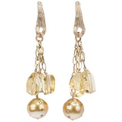 WOS Gold Drop Earrings South Sea Pearls Diamonds Citrine Gold