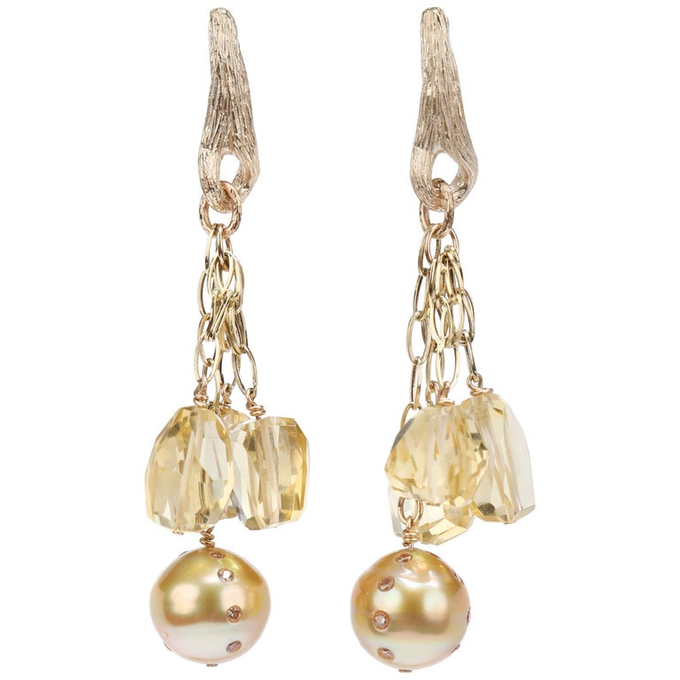 WOS Drop Earrings South Sea Pearls Diamonds Citrine Yellow Gold For Sale