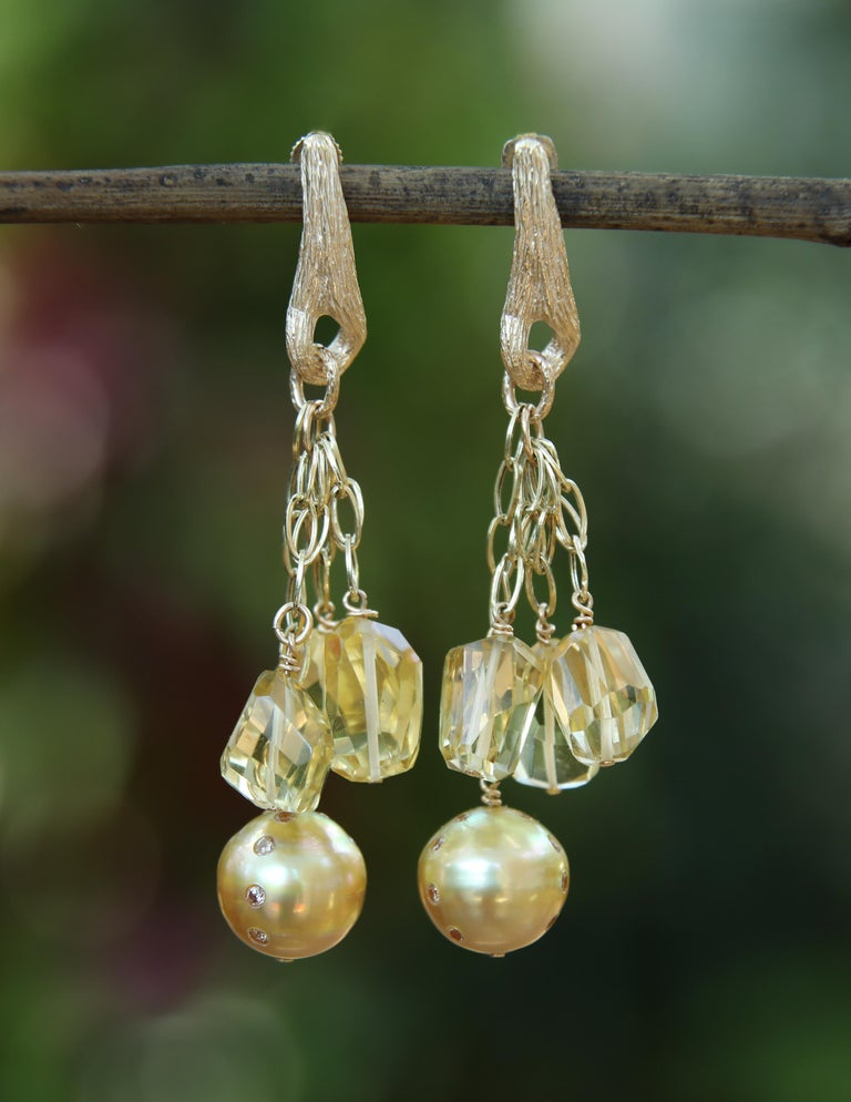 Round Cut WOS Drop Earrings South Sea Pearls Diamonds Citrine Yellow Gold For Sale