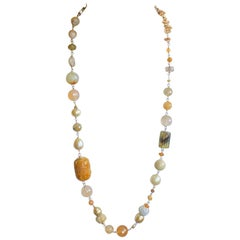 Golden South Sea Pearls, Honey Carved Jade, Bohemian Chic 18 Karat Gold Necklace