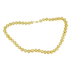 Golden South Sea Strand of Pearls Necklace w/ 14k Yellow Gold Clasp '#J4569'