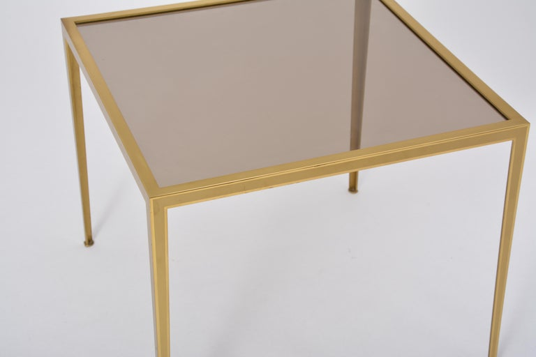 Golden Mid-Century Modern square Brass coffee table by Vereinigte Werkstätten For Sale 5