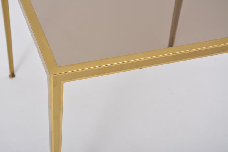 Golden Mid-Century Modern square Brass coffee table by Vereinigte Werkstätten For Sale 6