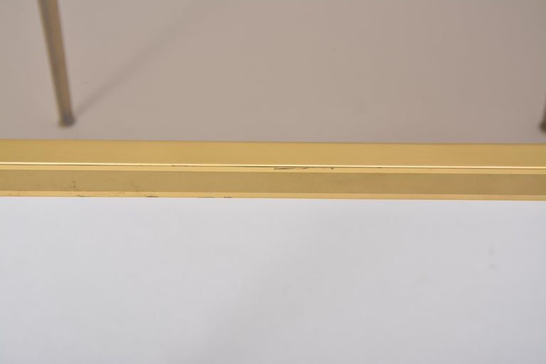 Golden Mid-Century Modern square Brass coffee table by Vereinigte Werkstätten For Sale 7