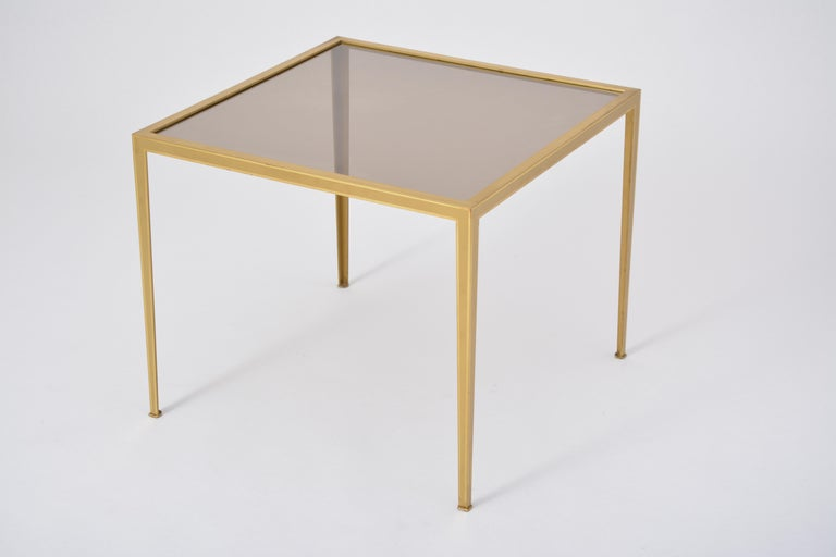 Golden Mid-Century Modern square Brass coffee table by Vereinigte Werkstätten For Sale 9