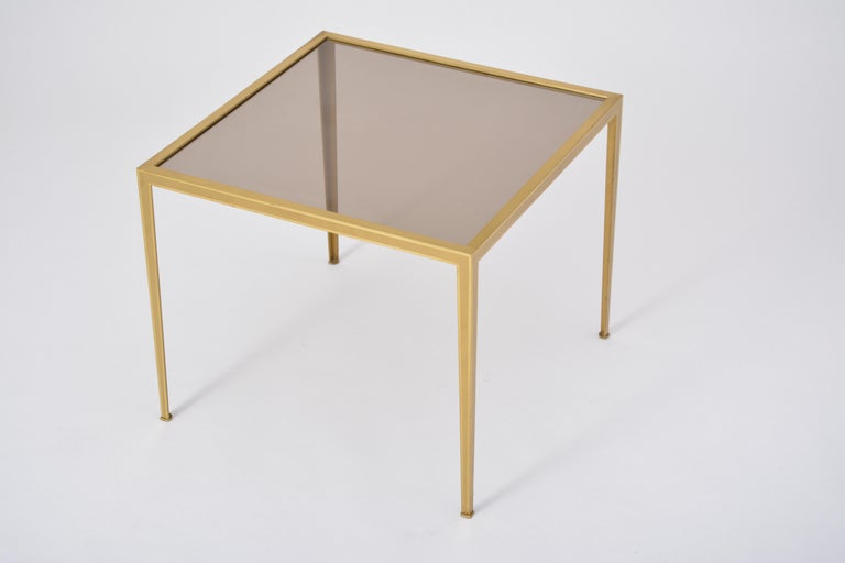 Golden Mid-Century Modern square Brass coffee table by Vereinigte Werkstätten For Sale 10
