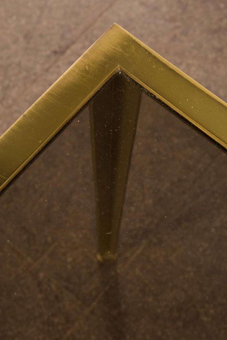 German Golden Mid-Century Modern square Brass coffee table by Vereinigte Werkstätten For Sale