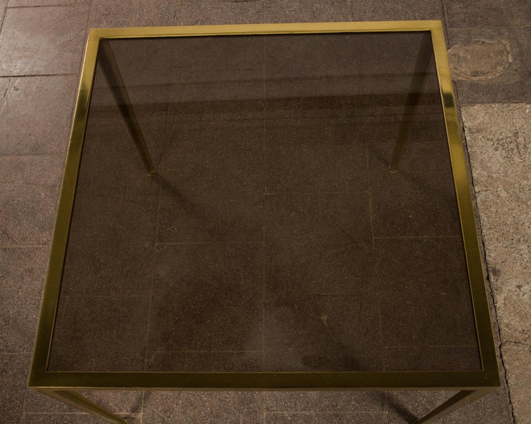 Golden Mid-Century Modern square Brass coffee table by Vereinigte Werkstätten In Good Condition For Sale In Berlin, DE