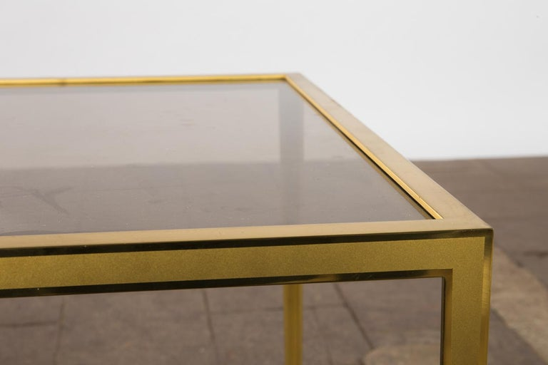 20th Century Golden Mid-Century Modern square Brass coffee table by Vereinigte Werkstätten For Sale