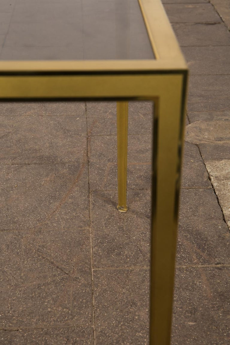 Golden Mid-Century Modern square Brass coffee table by Vereinigte Werkstätten For Sale 1