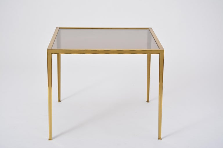 Golden Mid-Century Modern square Brass coffee table by Vereinigte Werkstätten For Sale 2