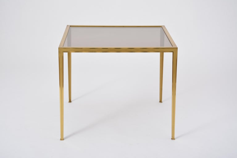 Golden Mid-Century Modern square Brass coffee table by Vereinigte Werkstätten For Sale 3