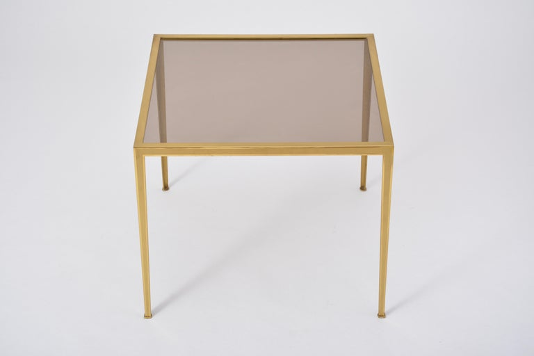 Golden Mid-Century Modern square Brass coffee table by Vereinigte Werkstätten For Sale 4