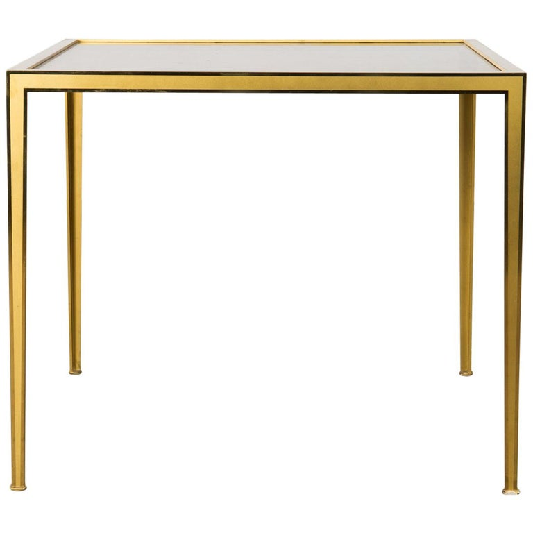 Golden Mid-Century Modern square Brass coffee table by Vereinigte Werkstätten For Sale