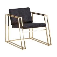 Golden Steel and Black Velvet Lounge Armchair