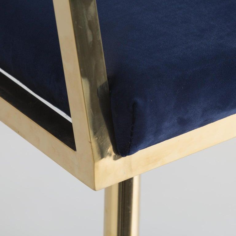 European Golden Steel and Deep Blue Velvet Armchair For Sale