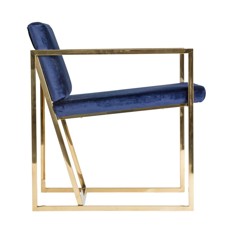 Golden steel and deep blue velvet lounge armchair Mid-Century Modern style and Art Deco Looking.