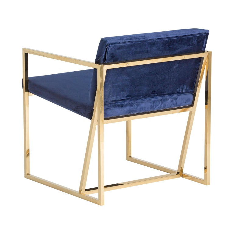 Mid-Century Modern Golden Steel and Deep Blue Velvet Lounge Armchair For Sale