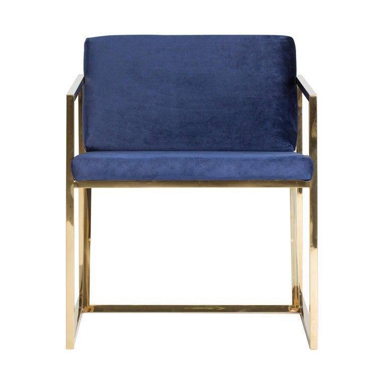 European Golden Steel and Deep Blue Velvet Lounge Armchair For Sale