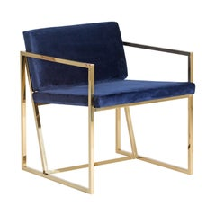 Golden Steel and Deep Blue Velvet Lounge Armchair