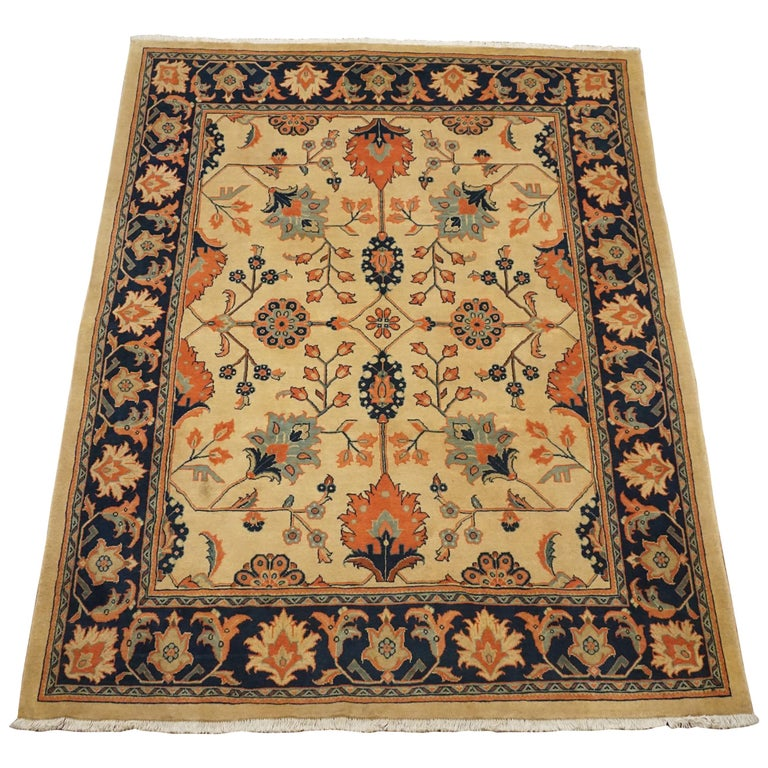 Antique Cotton Agra Rug With Abrash Circa 1900 For Sale: Golden Sultanabad Rug, Circa 1990 For Sale At 1stdibs