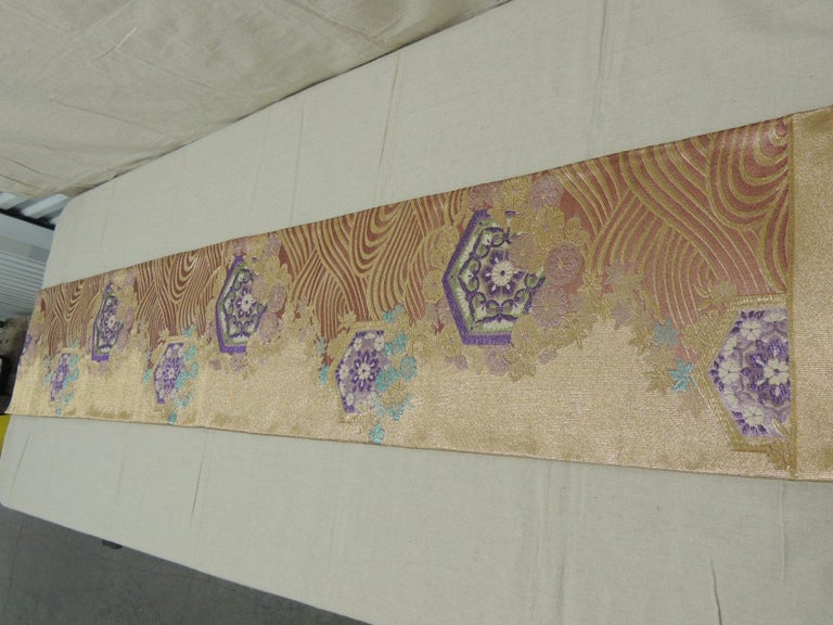 Long Golden Textured Woven Obi Textile Depicting Flowers in Bloom For Sale 3