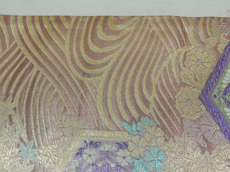 Long Golden Textured Woven Obi Textile Depicting Flowers in Bloom For Sale 4