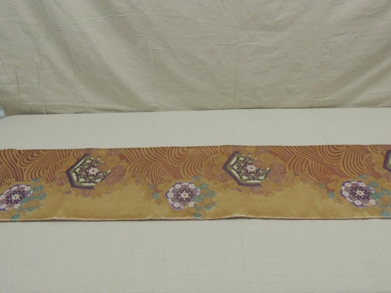 Long Golden Textured Woven Obi Textile Depicting Flowers in Bloom For Sale 6