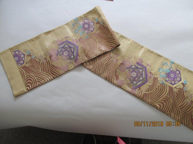 Japonisme Long Golden Textured Woven Obi Textile Depicting Flowers in Bloom For Sale