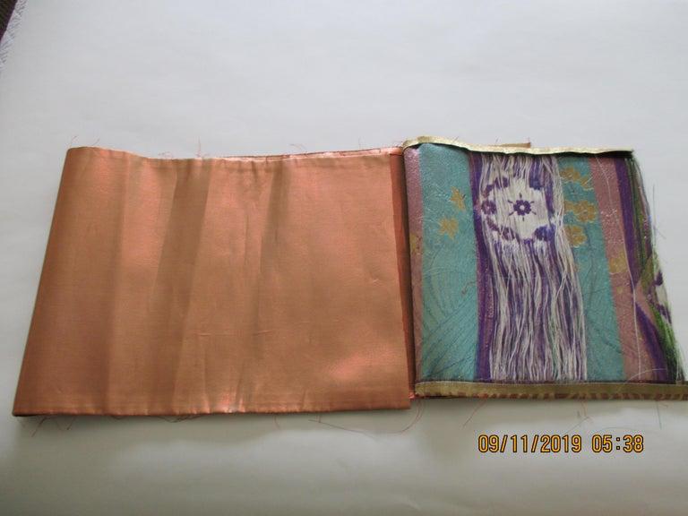 Japonisme Golden Textured Woven Obi Textile Depicting Flowers in Bloom For Sale