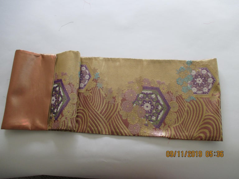 Japanese Long Golden Textured Woven Obi Textile Depicting Flowers in Bloom For Sale