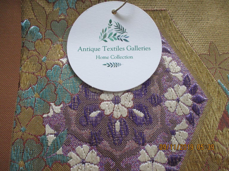 Japanese Golden Textured Woven Obi Textile Depicting Flowers in Bloom For Sale