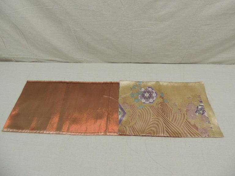 Hand-Crafted Golden Textured Woven Obi Textile Depicting Flowers in Bloom For Sale
