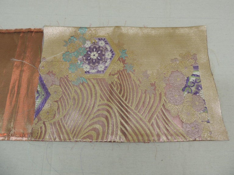 Golden Textured Woven Obi Textile Depicting Flowers in Bloom In Good Condition For Sale In Wilton Manors, FL