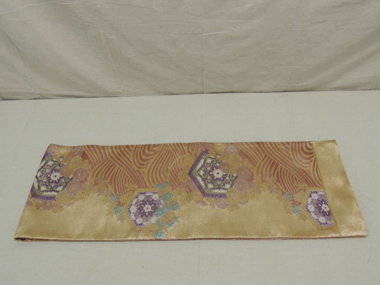 Silk Long Golden Textured Woven Obi Textile Depicting Flowers in Bloom For Sale