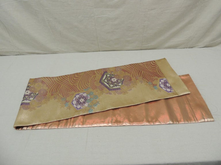 Long Golden Textured Woven Obi Textile Depicting Flowers in Bloom For Sale 1