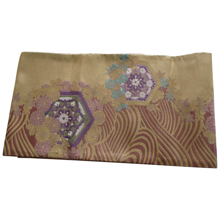 Long Golden Textured Woven Obi Textile Depicting Flowers in Bloom For Sale