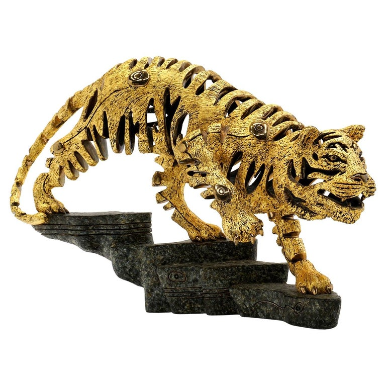 """""""Golden Tiger"""" Scuipture by Jiang Tiefeng, 1993, Bronze w/ 23-Carat Gold Leaf For Sale"""