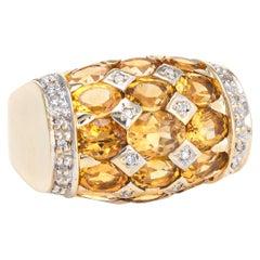 Golden Topaz Diamond Dome Ring Vintage 14 Karat Yellow Gold Estate Jewelry