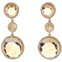 Golden Topaz Diamond Drop Earrings Estate 14 Karat Gold Round Dangle Jewelry