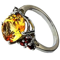 Gemjunky Golden Tourmaline and Garnet Cocktail Ring
